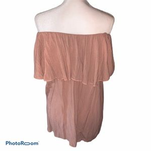 Dusty Rose Off Shoulder Ruffle Top